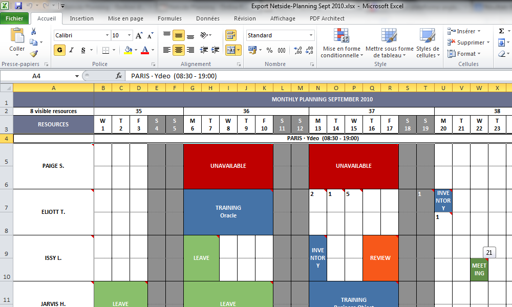 Planning Excel professionnel Modèles Excel : Gestion, Finance,