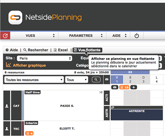Netside Planning V3.00 : Nouvelle interface, planning flottant, pointage par QR code