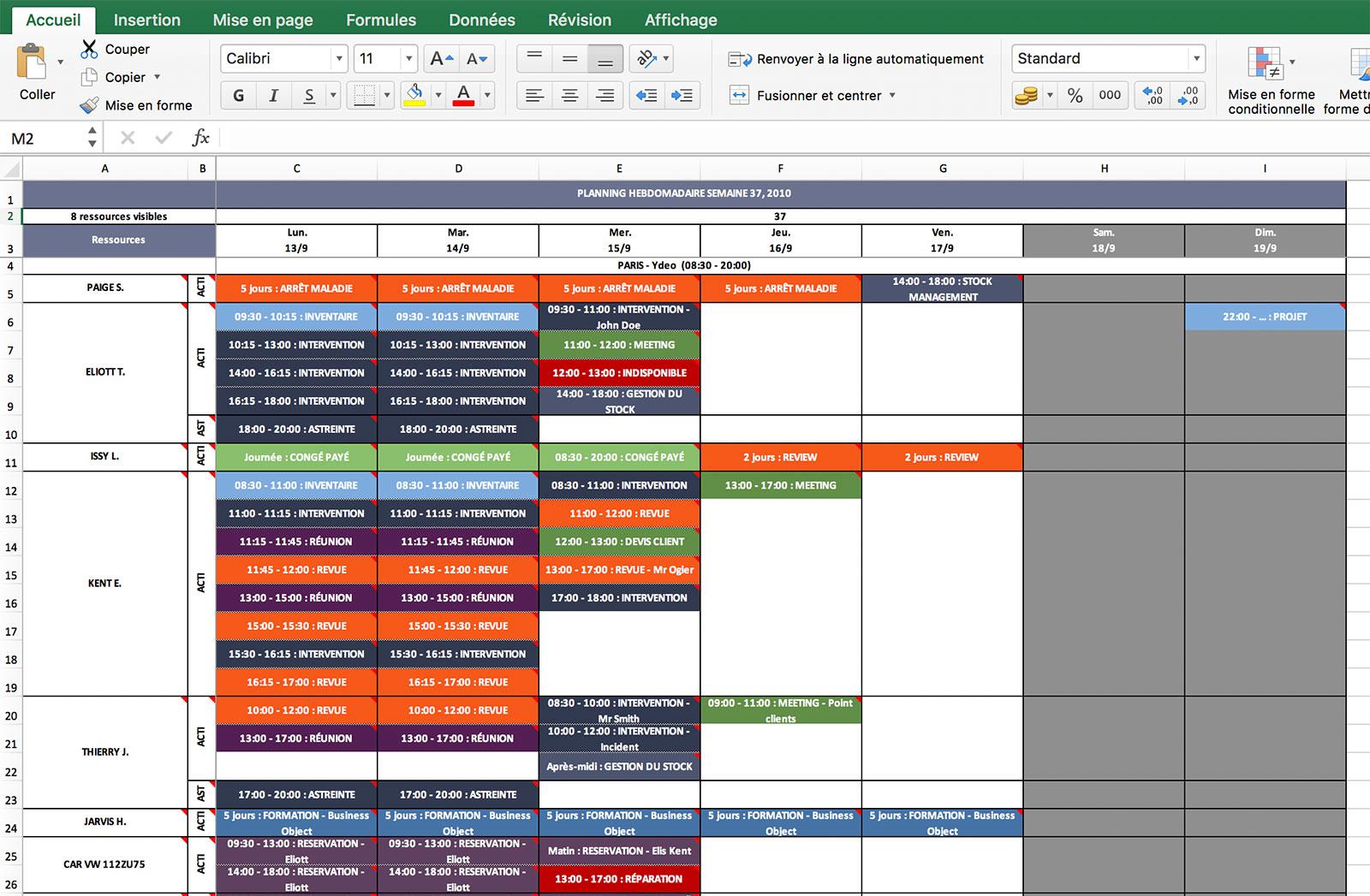 Exemple De Planning Hebdomadaire Excel Gratuit - Le Meilleur Exemple